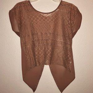 Chloe K brown lace blouse